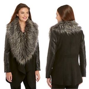 NWT Faux Leather Jacket w/ DETACHABLE Fur Collar